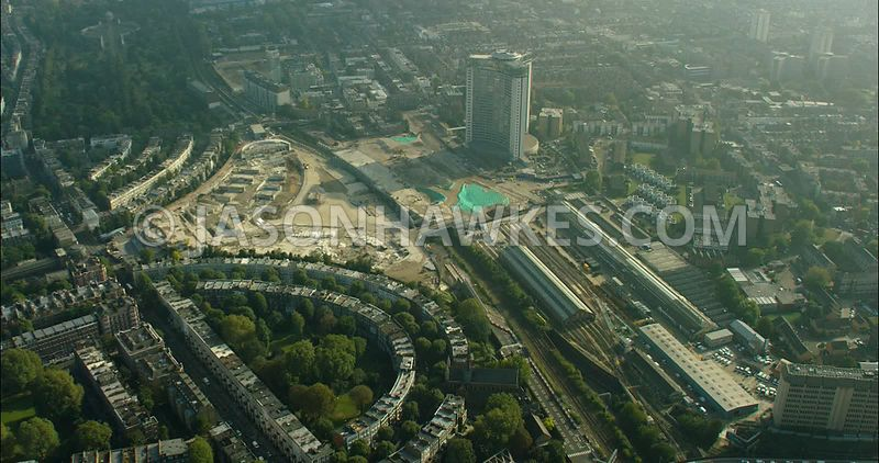 London Aerial Footage of redevelopment of Earls Court.