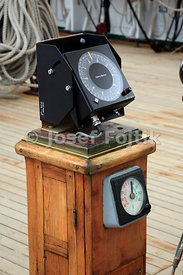 Gyrocompass and rudder position indicator, four masted barque Sedov, Murmansk