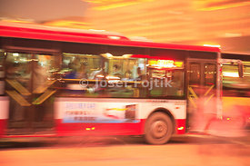 A citybus in the night Peking, China