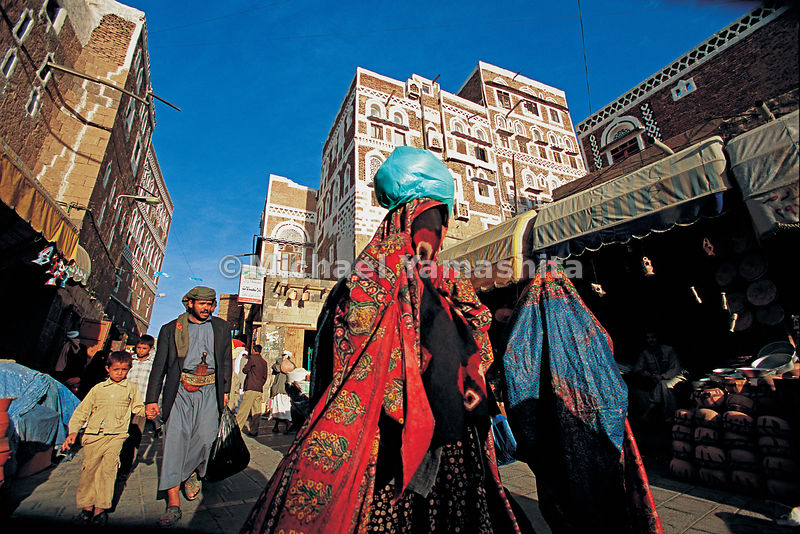 Zheng He would have no trouble recognizing Sanaa's markets in the old quarter, with stalls stocked with the traditional tunics and ceremonial daggers (jambiya) worn by the men and the veiled masks (hijab) worn by the women, just as in his day.  Sanaa, Yemen