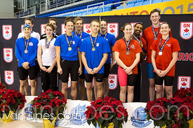 Mixed 18 & Under 200 SC Meter Freestyle Relay Podium, Ontario Junior International, Toronto Pan Am Sports Centre; December 6, 2015