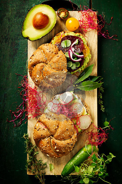 Healthy Vegetarian Veggie Sandwiches with Avocado, Tomato,  Cucumber, Onion, Beetroot, Herbs and Spices