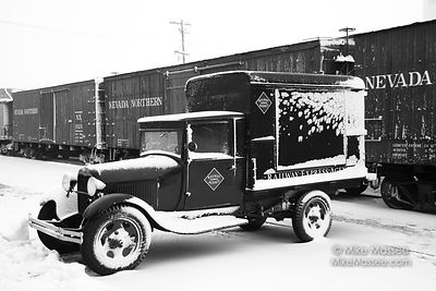 Nevada Northern Railway Ford model A REA (Railway Express Agency) car and boxcars