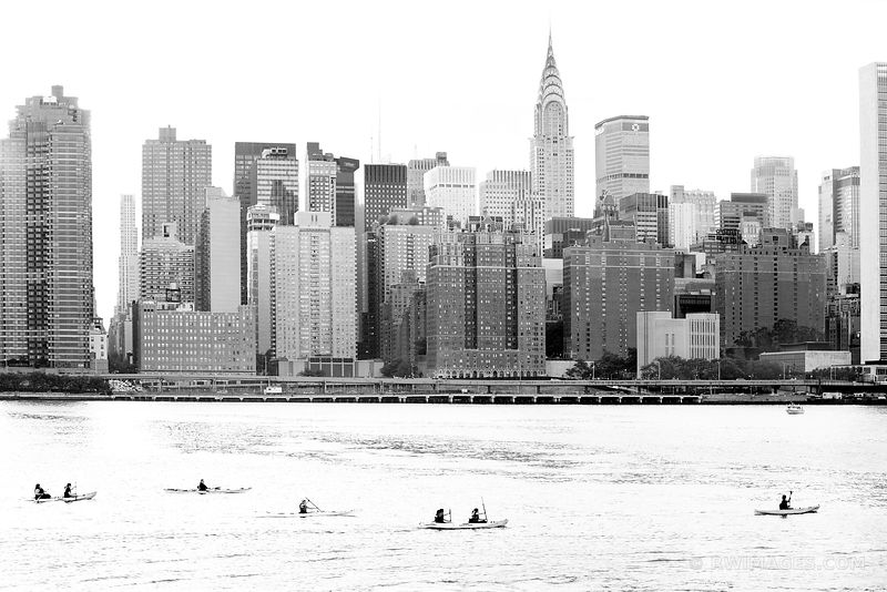 KAYAKERS HUDSON RIVER MANHATTAN NEW YORK CITY BLACK AND WHITE
