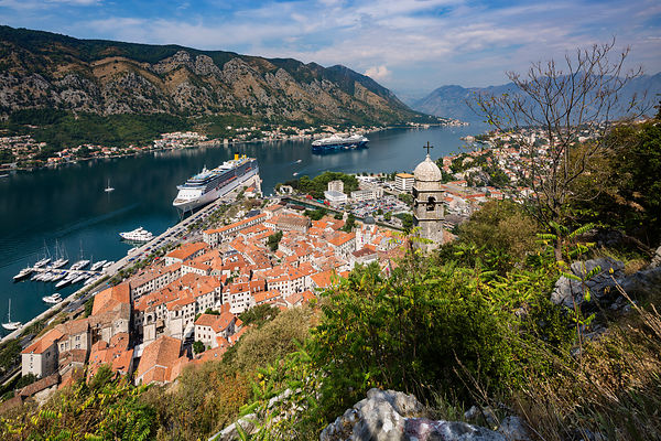Elevated View of the Church Tower of St John's and the Bay of Kotor