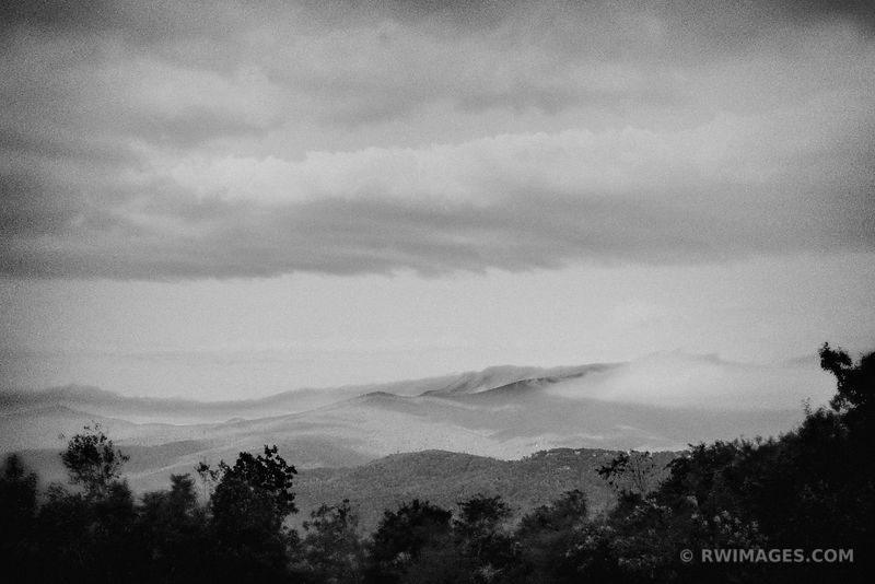 APPALACHIAN MOUNTAINS BLUE RIDGE PARKWAY VINTAGE BLACK AND WHITE