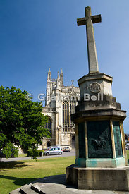 St Peters Cathedral Church and War Memorial, Cathedral Precinct, Gloucester, Gloucestershire, England.