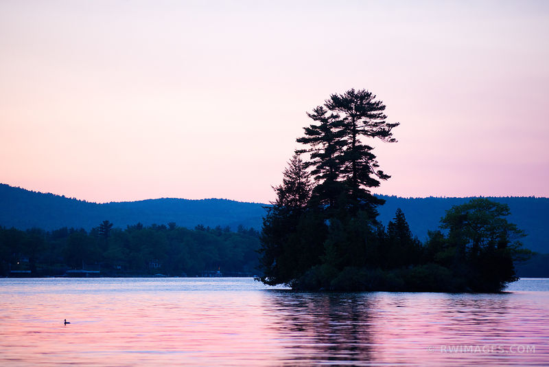 LAKE GEORGE AFTER SUNSET SMALL ISLAND ADIRONDACK MOUNTAINS COLOR