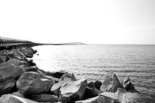 PEA ISLAND AND OREGON INLET BRIDGE OUTER BANKS NC BLACK AND WHITE