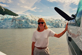 Kathy on float plane float in AK