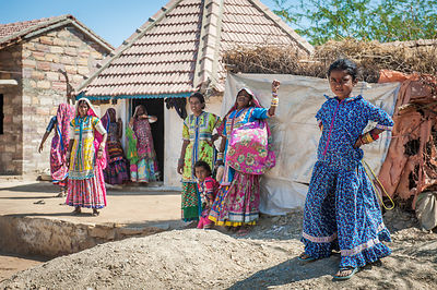 This photograph of a group of rural women was taken in a small village in Gujarat.