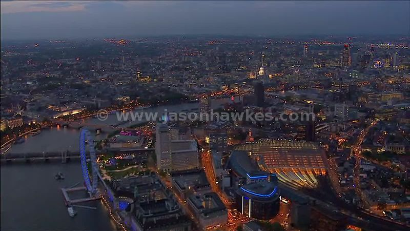 Aerial footage over Waterloo at night, Lambeth, London, England, UK