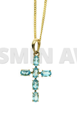 Gold cross with topaz stones