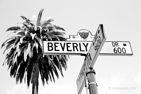 BEVERLY HILLS STREET SIGN BEVERLY HILLS CALIFORNIA BLACK AND WHITE