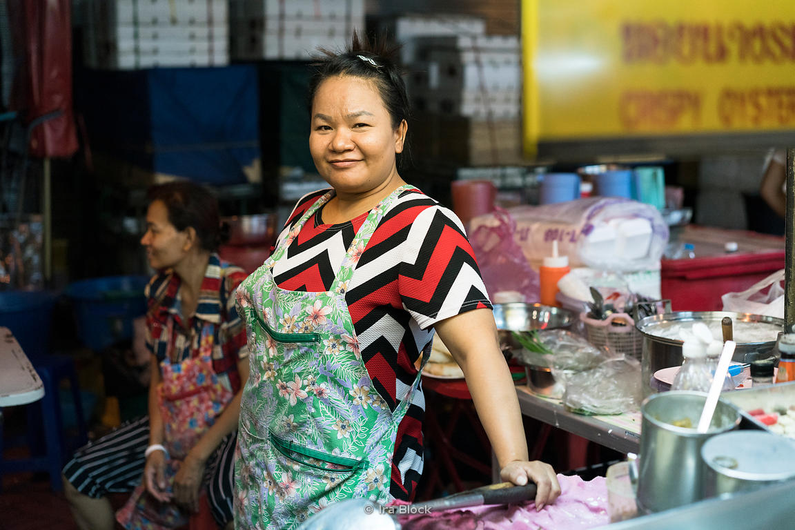 A portrait of a woman in Chinatown, Bangkok, Thailand.