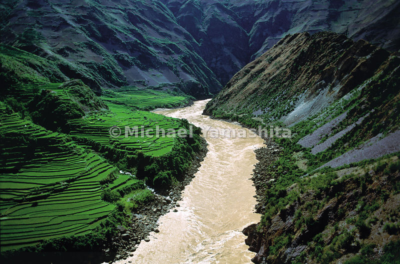 The inhospitable gorges carved by the Mekong near Lanping, in northern Yunnan, keep the river unused and unnavigale until its final 90-mile stretch through China, as it spills into Laos.