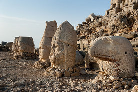 Heads on east terrace of Mount Nemrut.