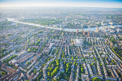 Aerial view of London, River Thames from Brompton with Chelsea Harbour.