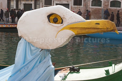 Seagull Head on one of the Lead Boats in the Venice Carnival Water Parade