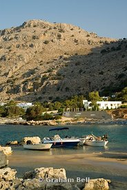 boats and mountains, pefkos, lindos, rhodes, dodecanese islands, Greece.
