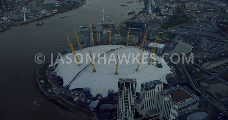 Aerial footage of the O2 Arena, Greenwich Peninsula