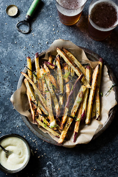 Japanese sweet potato oven fries with wasabi aioli