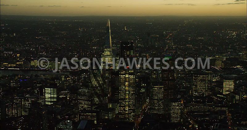 London Aerial Footage of City Skyline at night