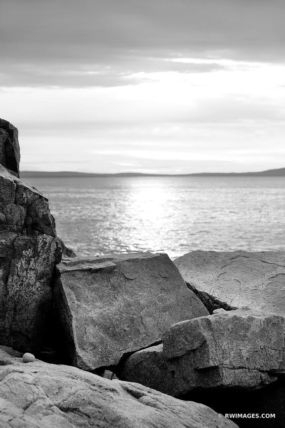 ROCKS AT OTTER CLIFF ACADIA NATIONAL BLACK AND WHITE