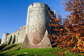 Chepstow Castle and autumn colours, Monmouthshire, Wales.
