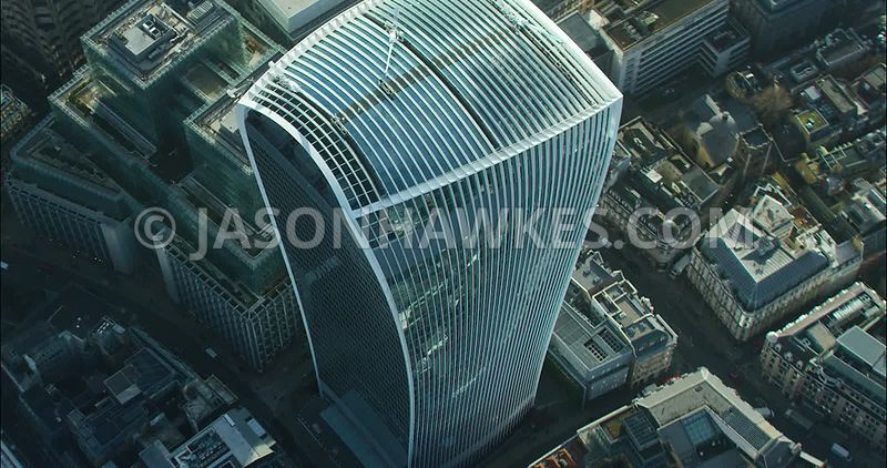 London Aerial footage, close up of 20 Fenchurch Street.