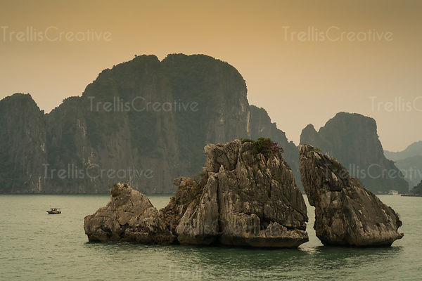 Karst Limestone rock formation in Halong Bay