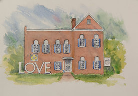 Holston Mountain Artisans Gallery_Historic Jail House, original watercolor illustration, 16 x 19 framed