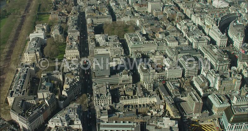 London Aerial Footage of Piccadilly and St James's Square