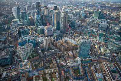 Aerial view of City of London, Middlesex Street with Liverpool Street towards 30 St Mary Axe and Bishopsgate.