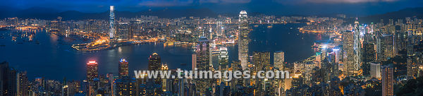 Victoria harbour hong kong skyline panorama