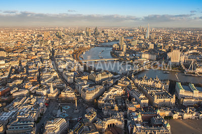 Aerial view of London, National Gallery and Covent Garden with City of London skyline.