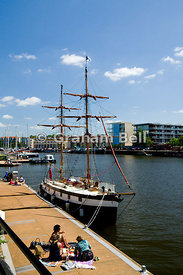 boat with traditional rigging, floating harbour, bristol, england.