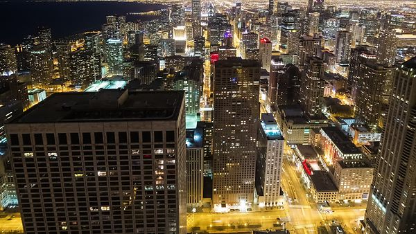 Bird's Eye: An Overview of Lights, Streets, & the High-rises of Chicago