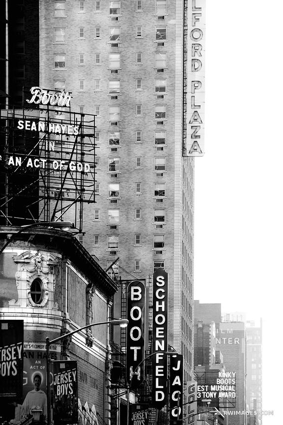 BROADWAY THEATER DISTRICT MANHATTAN NEW YORK CITY BLACK AND WHITE VERTICAL