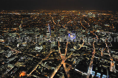 The Ciry of London at night looking East from Bank