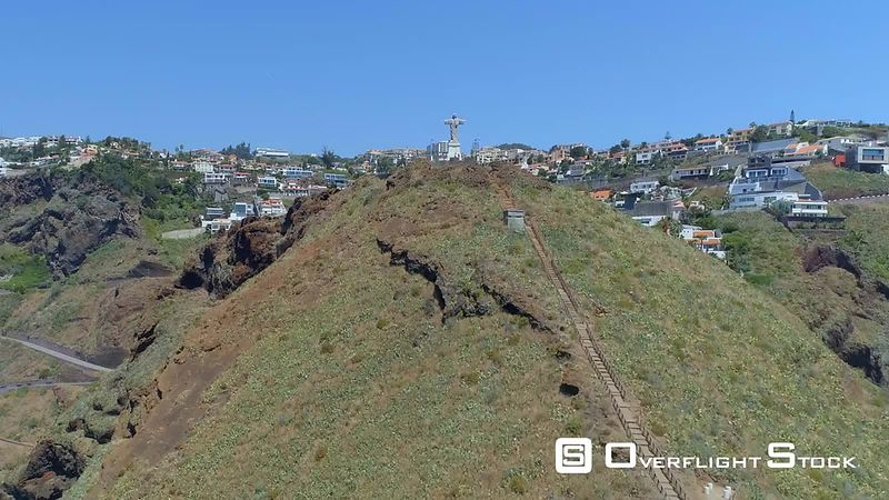 Christ Statue on Madeira Island Drone Video Portugal