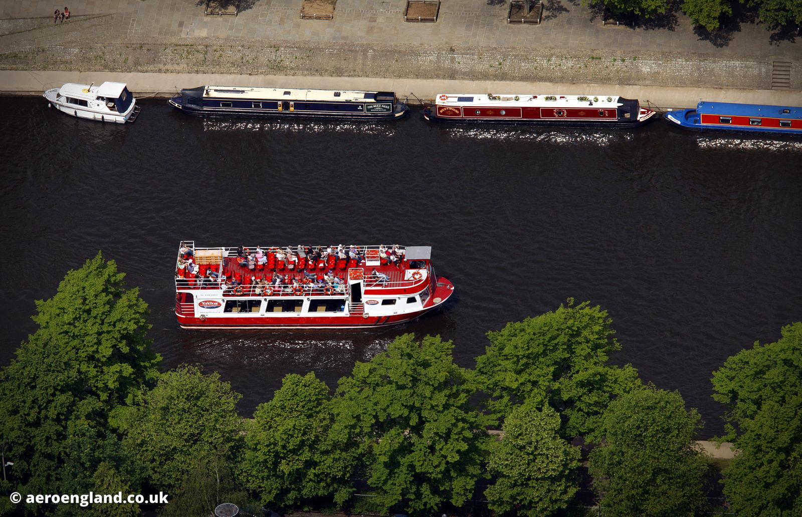 aerial photograph of boat tours on the River Ouse in  , York England UK