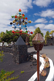 'Pyramid energy' sculpture by Canarian artist Cesar Manrique, Fundacion Cesar manrique, Costa Teguise, Lanzarote, Spain.