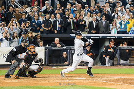 Derek Jeter played his final home game at Yankee Stadium in New York and his final hit.
