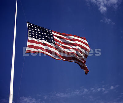 Stars and Stripes flag blows in breeze