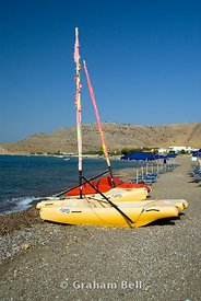 boats on beach, lardos, lindos, rhodes, dodecanese islands, Greece.