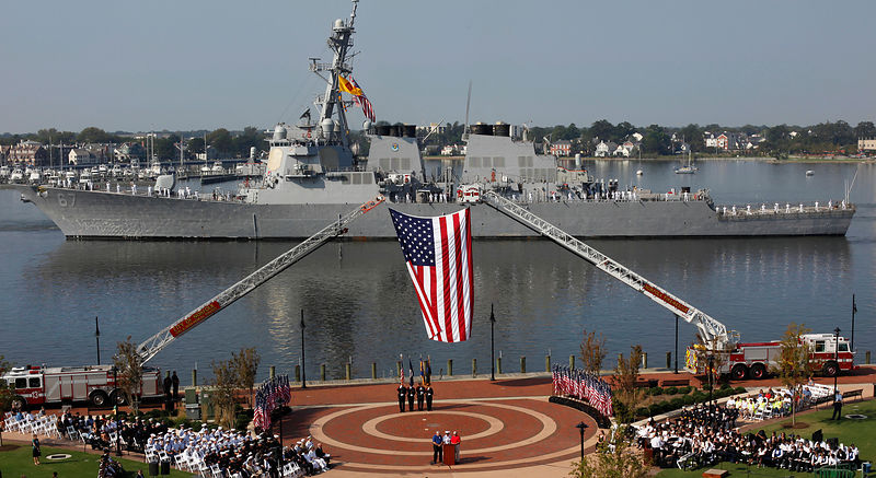 911_ceremony_american_flag_navy_ship