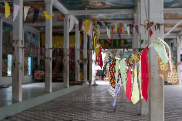 Prayer flags in a temple at Angkor Wat