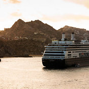 View of large cruise ship in harbour at sunset, Cabo San Lucas, Baja California Sur, Mexico
