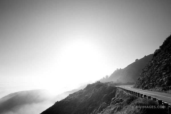 BIG SUR PACIFIC COAST HIGHWAY 1 CALIFORNIA BLACK AND WHITE